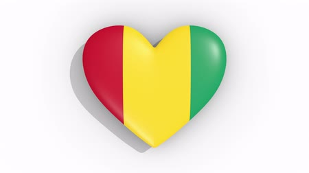 amoroso : Heart in colors flag of Guinea pulses, loop.
