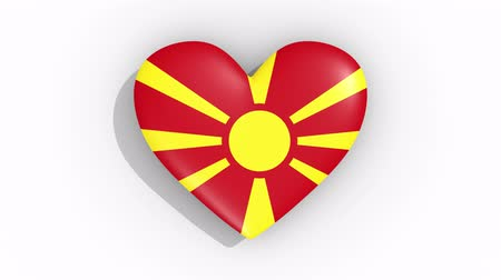 macedonian : Heart in colors flag of Macedonia pulses, loop.
