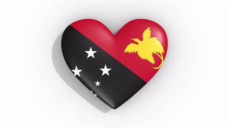 gine : Heart in colors flag of Papua New Guinea pulses, loop. Stok Video
