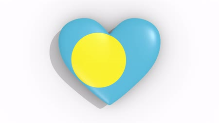 nationality : Heart in colors flag of Palau pulses, loop.