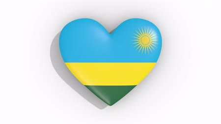nacionalidade : Heart in colors flag of Rwanda pulses, loop.