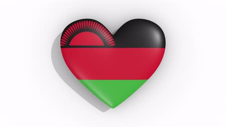 nationality : Heart in colors flag of Malawi pulses, loop. Stock Footage