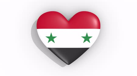 damasco : Heart in colors flag of Syria pulses, loop
