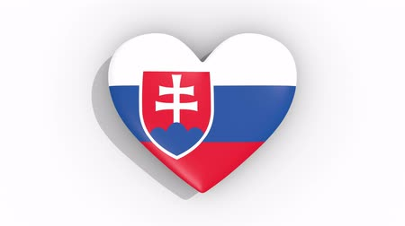 nationality : Heart in colors flag of Slovakia pulses, loop