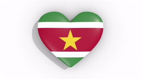 paramaribo : Heart in colors flag of Suriname pulses, loop.