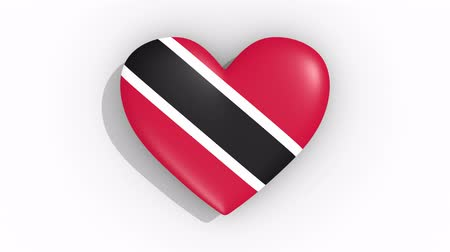 nationality : Heart in colors flag of Trinidad And Tobago pulses, loop.