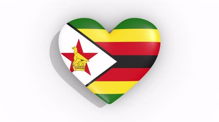 zimbabwe : Heart in colors flag of Zimbabwe pulses, loop.