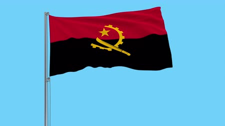 machete : Large cloth Isolate flag of Angola on a flagpole fluttering in the wind on a transparent background, 3d rendering, 4k prores footage, alpha transparency Stock Footage