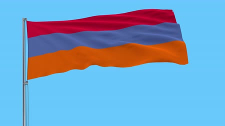 verze : Large cloth of Armenia with alternative colors on the flagpole waving in the wind on a transparent background, 3d rendering, prores 4444 alpha channel
