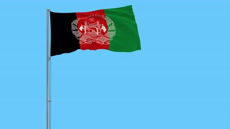 afghan : Isolate flag of Islamic Republic Afghanistan on a flagpole fluttering in the wind on a transparent background, 3d rendering, 4k prores footage, alpha transparency
