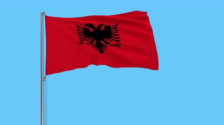 albanie : Isolate flag of Albania on a flagpole fluttering in the wind on a transparent background, 3d rendering, 4k prores footage, alpha transparency