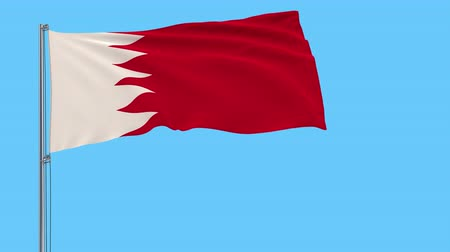 takımadalar : Isolate flag of Bahrain on a flagpole fluttering in the wind on a transparent background, 3d rendering, 4k prores footage, alpha transparency