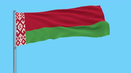 godło : Large cloth Isolate flag of Belarus on a flagpole fluttering in the wind on a transparent background, 3d rendering, 4k prores footage, alpha transparency