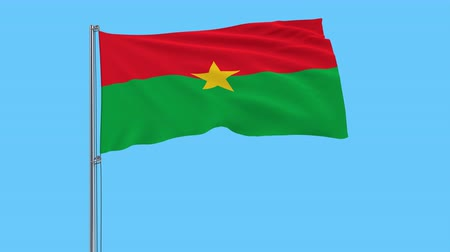 território : Isolate flag of Burkina Faso on a flagpole fluttering in the wind on a transparent background, 3d rendering, 4k prores footage, alpha transparency