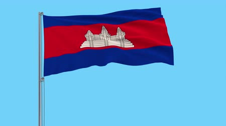 Ангкор : Large cloth Isolate flag of Cambodia on a flagpole fluttering in the wind on a transparent background, 3d rendering, 4k prores footage, alpha transparency Стоковые видеозаписи