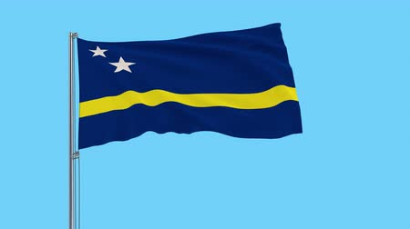 curacao : Large cloth Isolate flag of Curacao on a flagpole fluttering in the wind on a transparent background, 3d rendering, 4k prores footage, alpha transparency Stock Footage