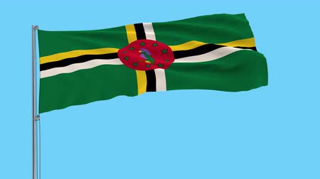 společenství : Large cloth Isolate flag of Commonwealth of Dominica on a flagpole fluttering in the wind on a transparent background, 3d rendering, 4k prores footage, alpha transparency