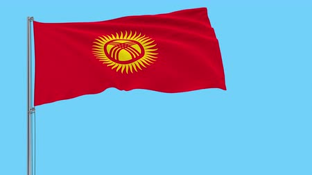 godło : Large cloth Isolate flag of Kyrgyzstan on a flagpole fluttering in the wind on a transparent background, 3d rendering, 4k prores footage, alpha transparency Wideo
