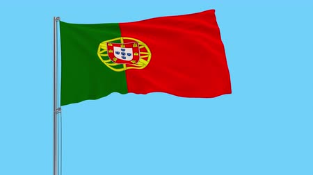 lizbona : Large cloth Isolate flag of Portugal on a flagpole fluttering in the wind on a transparent background, 3d rendering, 4k prores footage, alpha transparency Wideo