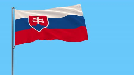 Словакия : Isolate flag of Slovakia on a flagpole fluttering in the wind on a transparent background, 3d rendering, 4k prores footage, alpha transparency Стоковые видеозаписи