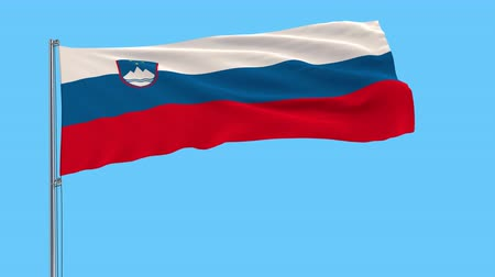 ljubljana : Isolate flag of Slovenia on a flagpole fluttering in the wind on a transparent background, 3d rendering, 4k prores footage, alpha transparency