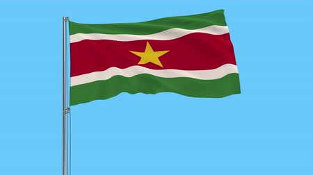 paramaribo : Isolate flag of Suriname on a flagpole fluttering in the wind on a transparent background, 3d rendering, 4k prores footage, alpha transparency