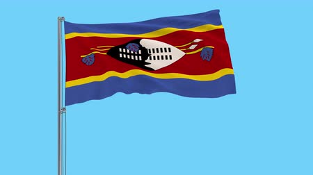 eswatini : Large cloth Isolate flag of Kingdom of eSwatini - Swaziland on a flagpole fluttering in the wind on a transparent background, 3d rendering, 4k prores footage, alpha transparency