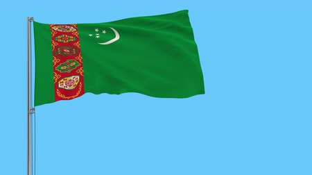 hilâl : Flag of Turkmenistan on a flagpole fluttering in the wind on a transparent background, 3d rendering, 4k prores footage, alpha transparency Stok Video