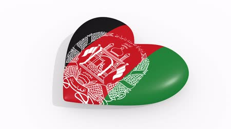 afghan : Heart in colors and symbols of Afghanistan on white background Stock Footage