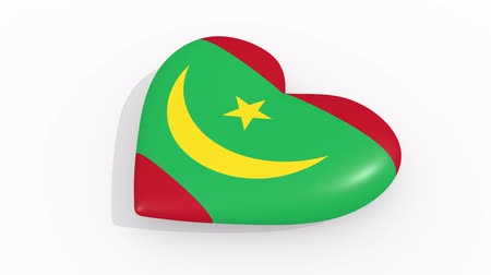amoroso : Heart in colors and symbols of Mauritania on white background, loop Vídeos