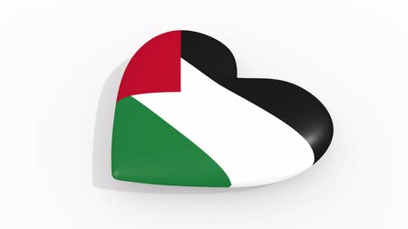 filistin : Heart in colors and symbols of Palestine on white background, loop