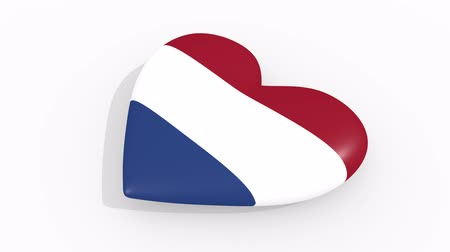 amoroso : Heart in colors and symbols of Netherlands on white background, loop