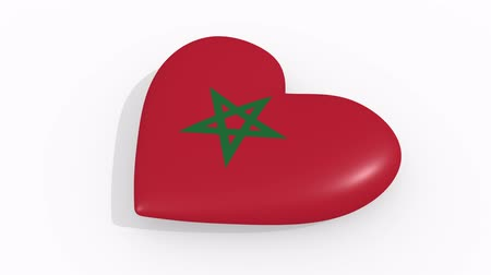 марокканский : Heart in colors and symbols of Morocco on white background, loop