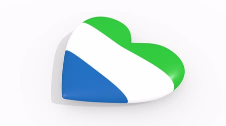 sierra leone flag : Heart in colors and symbols of Sierra Leone on white background, loop