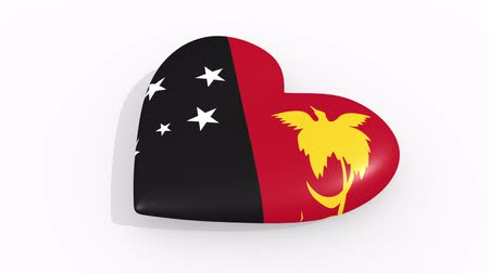 amoroso : Heart in colors and symbols of Papua New Guinea on white background, loop Vídeos