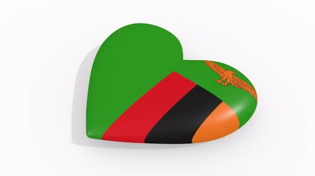 amoroso : Heart in colors and symbols of Zambia on white background, loop