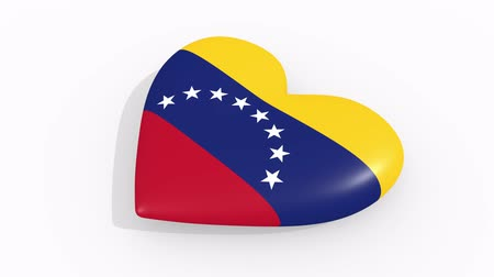 nationality : Heart in colors and symbols of Venezuela on white background, loop