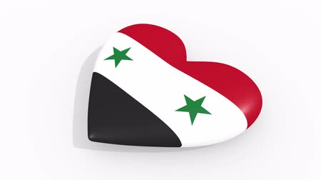 damasco : Heart in colors and symbols of Syria on white background, loop Vídeos