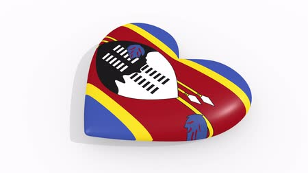 eswatini : Heart in colors and symbols of Swaziland on white background, loop