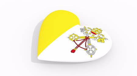 papież : Heart in colors and symbols of Vatican on white background, loop Wideo
