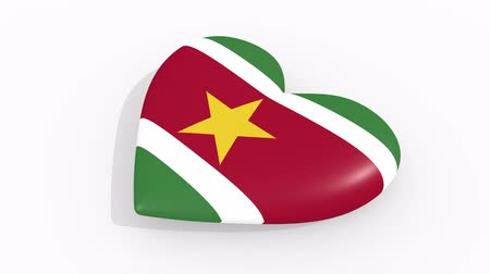 paramaribo : Heart in colors and symbols of Suriname on white background, loop