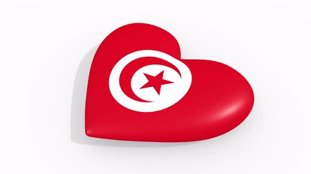 tunisia : Heart in colors and symbols of Tunisia on white background, loop
