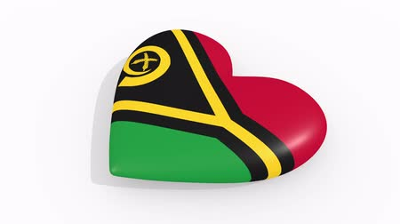 vila : Heart in colors and symbols of Vanuatu on white background, loop