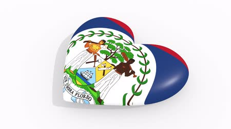 amoroso : Heart in colors and symbols of Belize on white background, loop