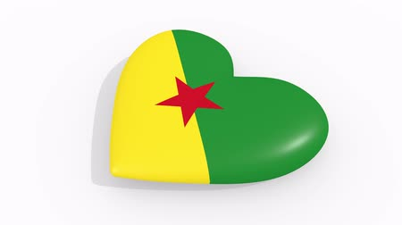 nationality : Heart in colors and symbols of French Guiana on white background, loop