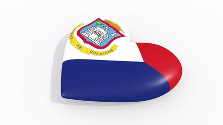 amoroso : Heart in colors and symbols of Sint Maarten on white background, loop