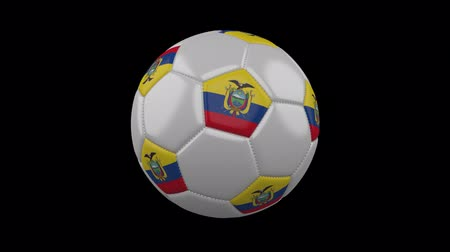 quito : Soccer ball with the flag of Ecuador colors rotates on transparent background, 3d rendering, prores footage with alpha channel, loop