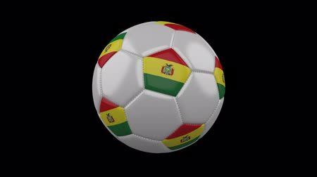 Боливия : Soccer ball with the flag of Bolivia colors rotates on transparent background, 3d rendering, prores footage with alpha channel, loop Стоковые видеозаписи