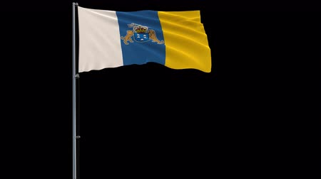 canário : Isolate big flag of Canary Islands on a flagpole fluttering in the wind on a transparent background.