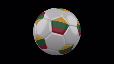 rotates : Soccer ball with the flag of Lithuania colors rotates on transparent background, 3d rendering, prores footage with alpha channel, loop